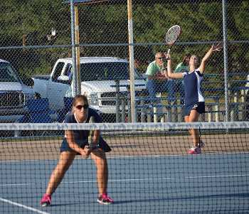 Phillipsburg varsity doubles play excels at home quad